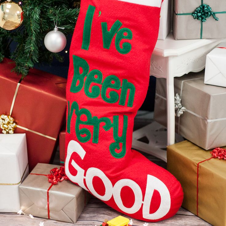 Personalised Embroidered Giant I've Been Good Christmas Stocking product image