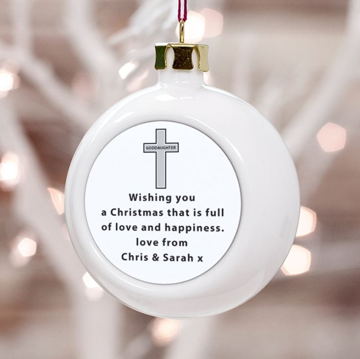 Personalised Goddaughter Christmas Bauble product image