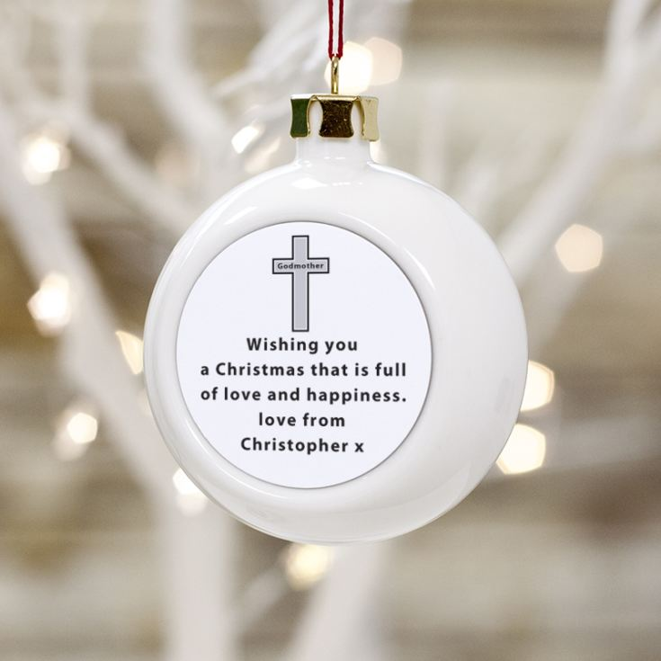 Personalised Godmother Christmas Bauble product image