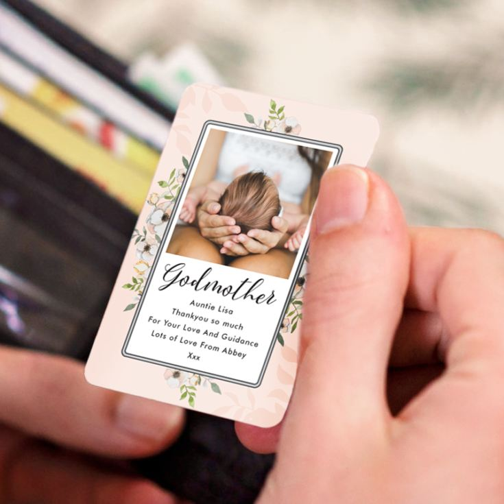 Personalised Godmother Photo Upload Metal Wallet Card product image