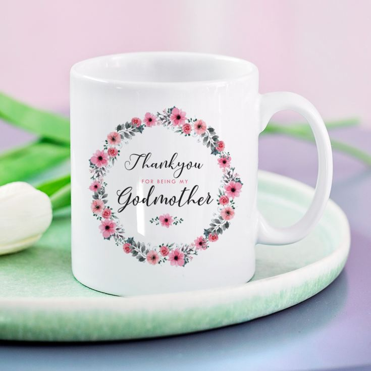 Personalised Godmother Floral Design Mug product image