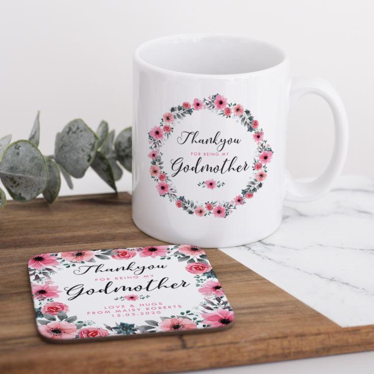 Personalised Godmother Floral Design Mug & Coaster Set product image