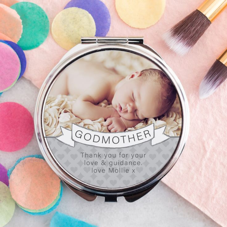 Personalised Godmother Photo Upload Compact Mirror product image