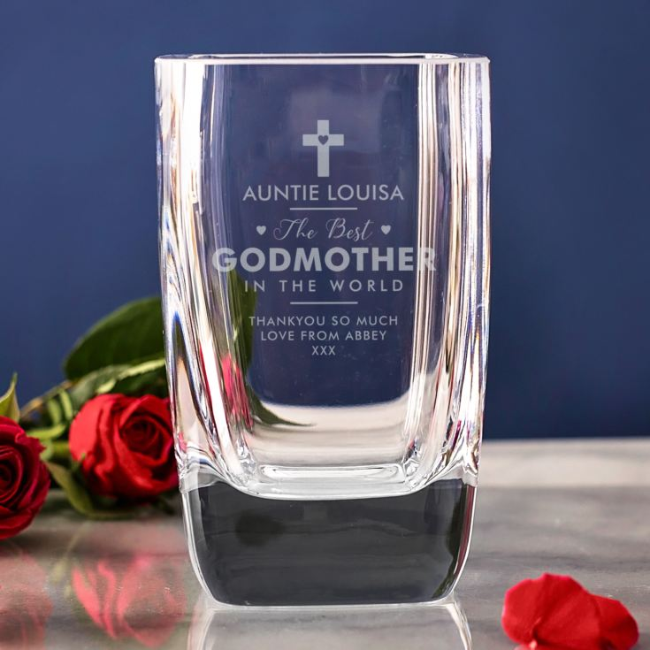 Personalised Godmother Square Glass Vase product image