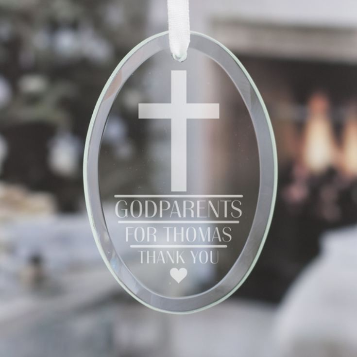 Personalised Godparents Oval Hanging Glass Ornament product image