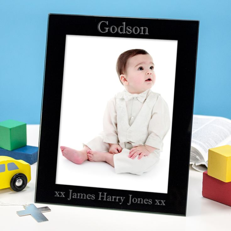 Personalised Black Glass Godson Photo Frame product image