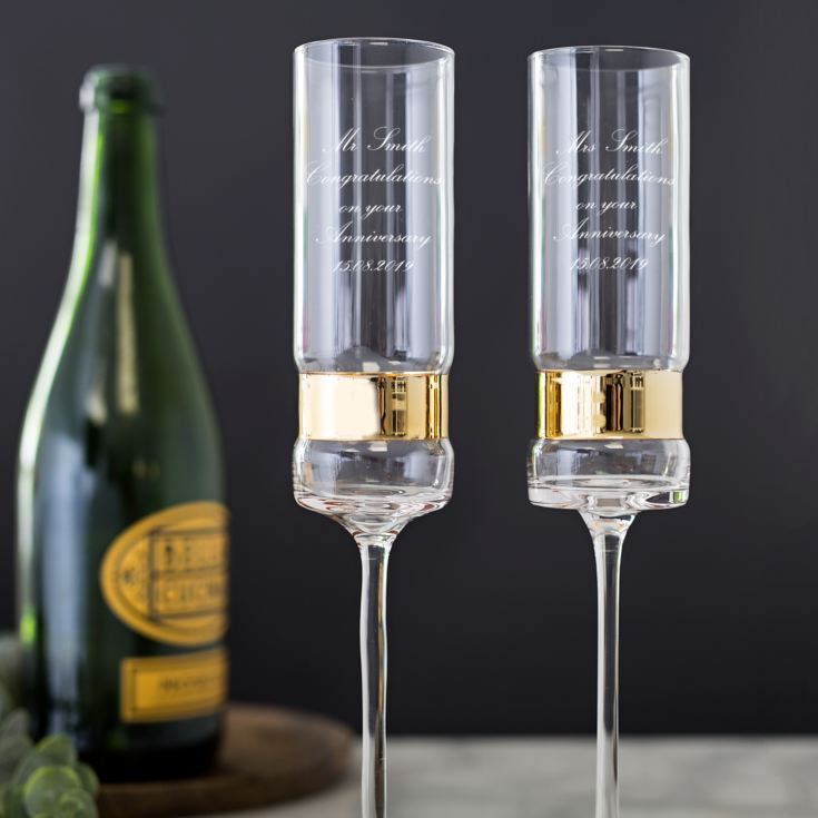 Pair Of Personalised Gold Band Champagne Flutes | The Gift ...