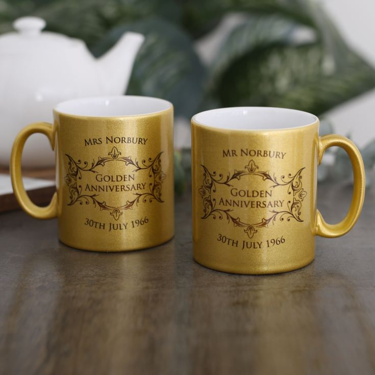 Personalised Pair Of Golden Anniversary Sparkly Mugs product image