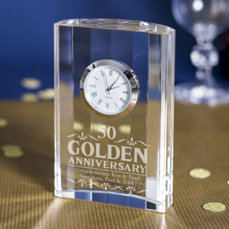 Engraved Golden Wedding Anniversary Mantel Clock product image