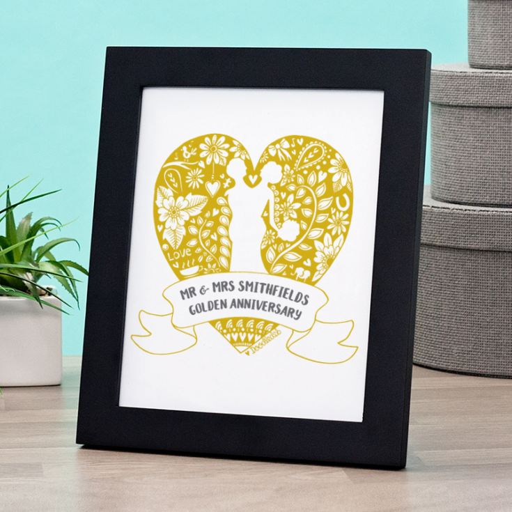 Exclusive Personalised Golden Anniversary Doodle Heart Print by DoodleDeb product image