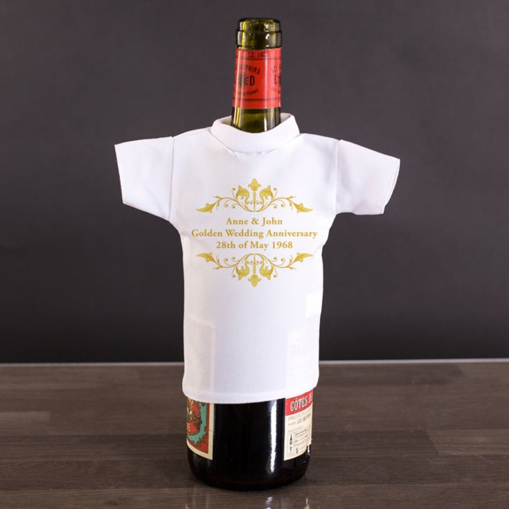 Personalised Golden Anniversary Wine Bottle T-Shirt product image