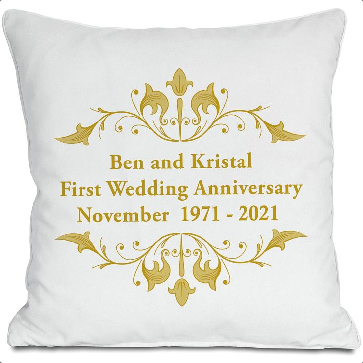 Exclusive Personalised Golden Anniversary Doodle Heart Cushion by DoodleDeb product image
