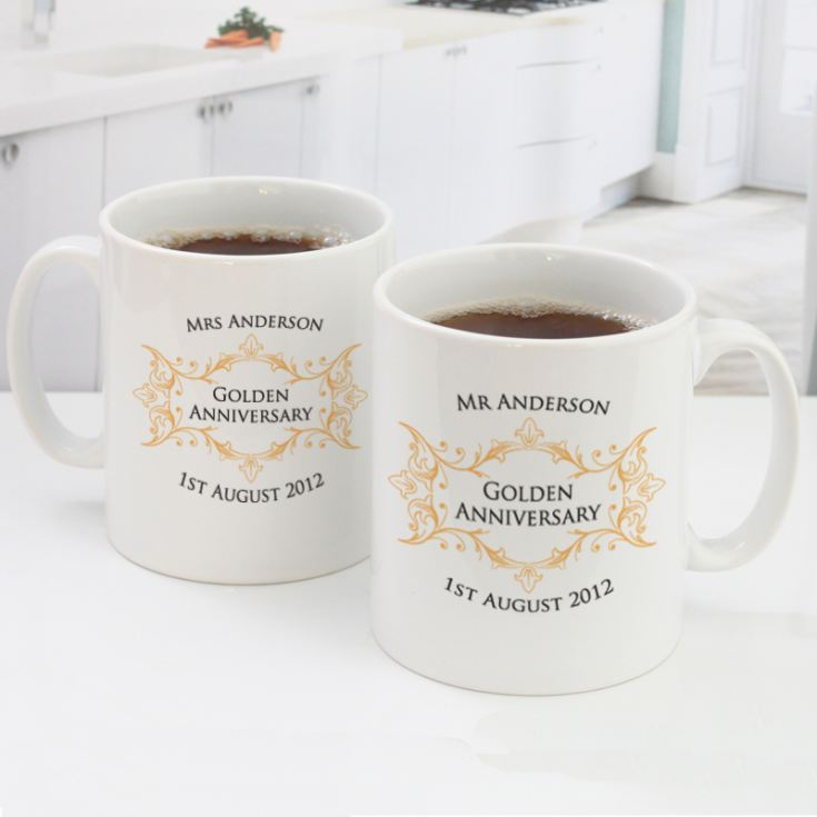 Pair of Personalised Golden Anniversary Mugs product image