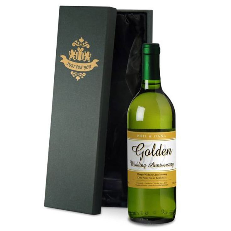 Personalised Golden Wedding Anniversary White Wine product image