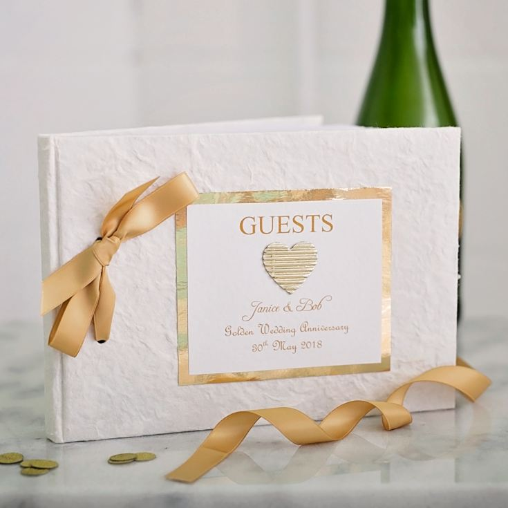 Personalised Golden Wedding Anniversary Guest Book product image