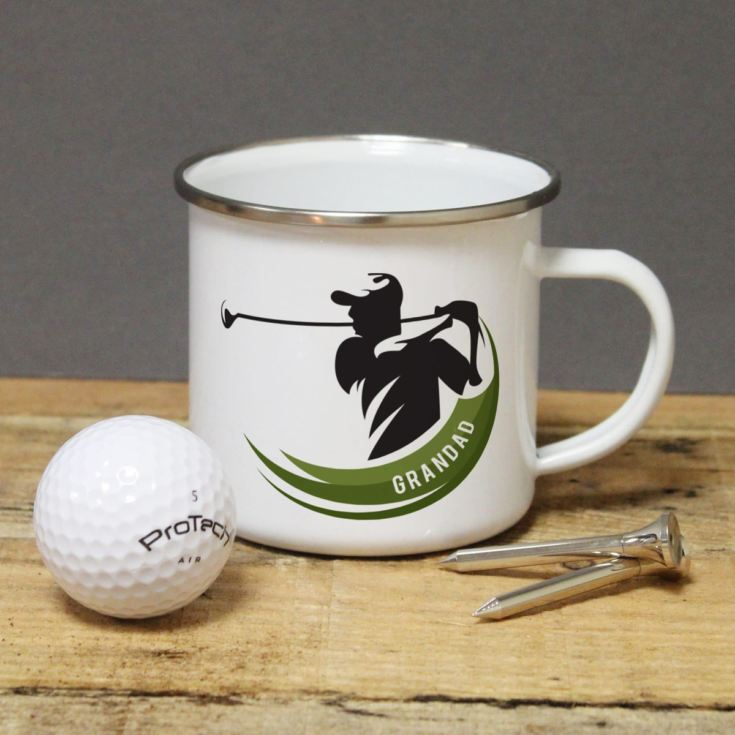 Personalised Golf Player Enamel Mug product image