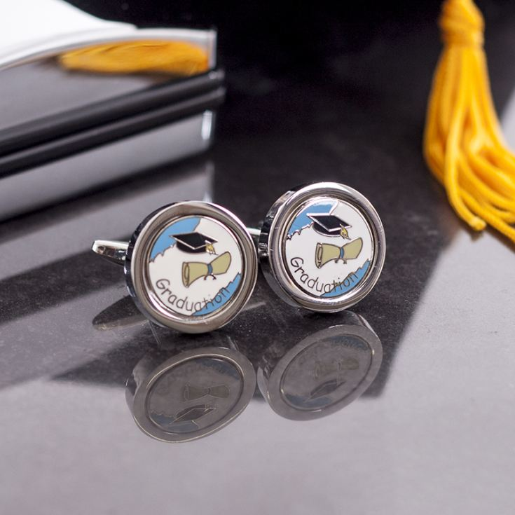 Pair Of Graduation Cufflinks With Personalised Box product image