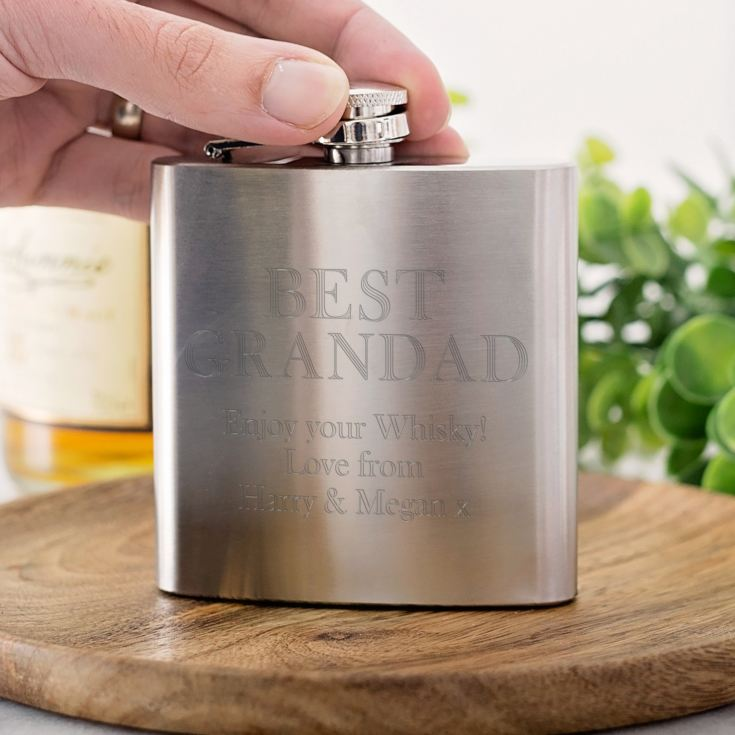 Personalised Grandad Stainless Steel Hip Flask product image