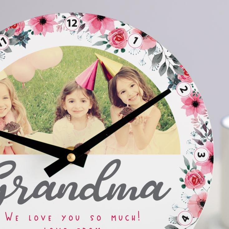Personalised Floral Grandma Photo Clock product image
