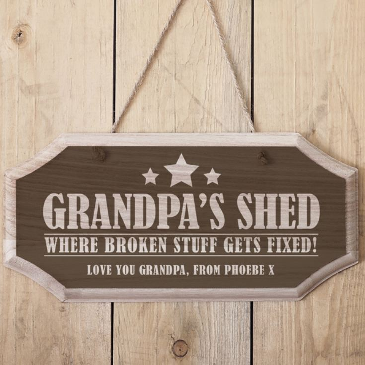 Personalised Grandpa's Shed Hanging Wooden Sign product image