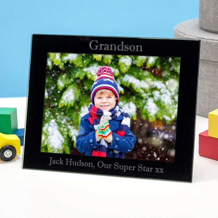 Personalised Grandson Black Glass Photo Frame product image