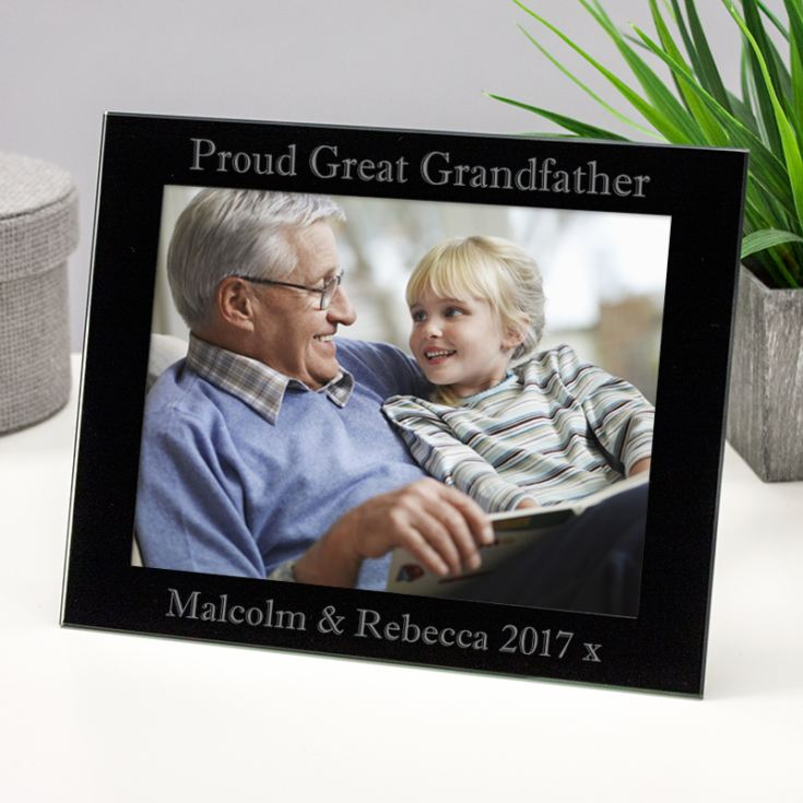 Personalised Proud Great Grandfather Black Glass Photo Frame product image