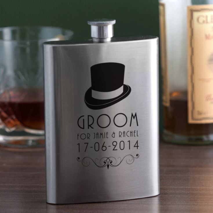 Personalised Groom Hip Flask product image