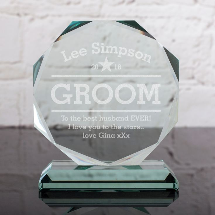 Personalised Groom Glass Octagon Award product image