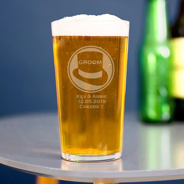 Personalised Groom Straight Sided Pint Glass product image
