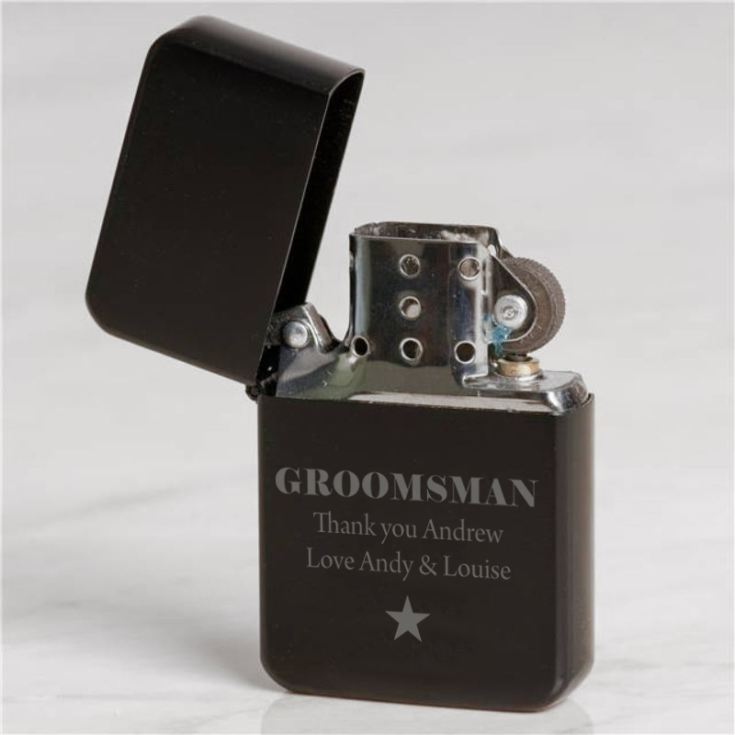Personalised Groomsman Black Petrol Lighter product image