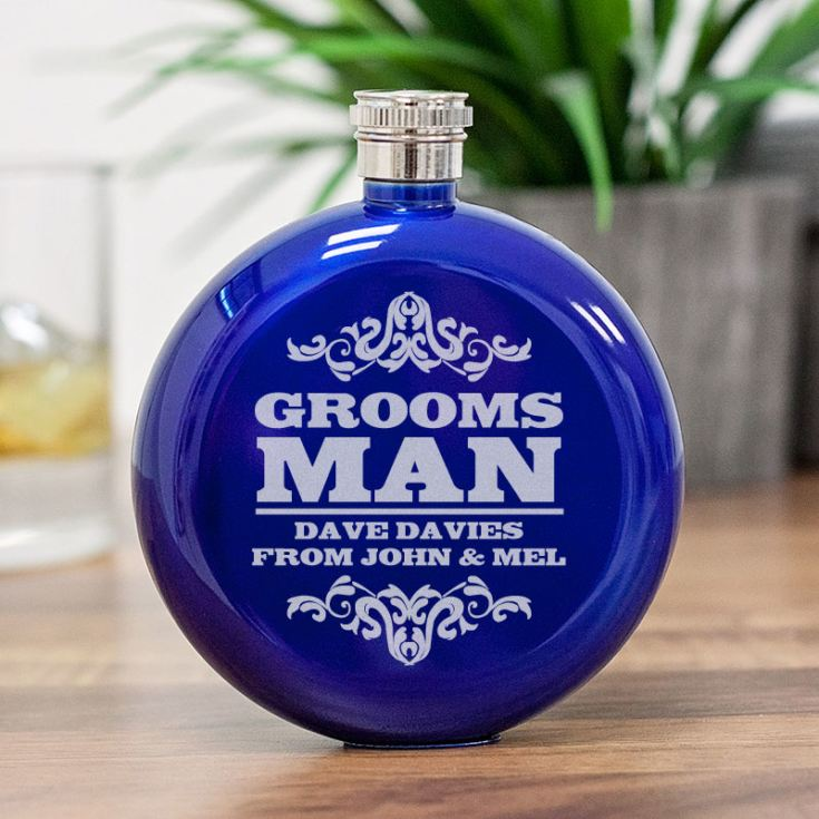 Personalised Groomsman Round Blue Stainless Steel Hipflask product image