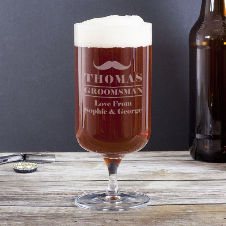 Personalised Groomsman Footed Beer Glass product image