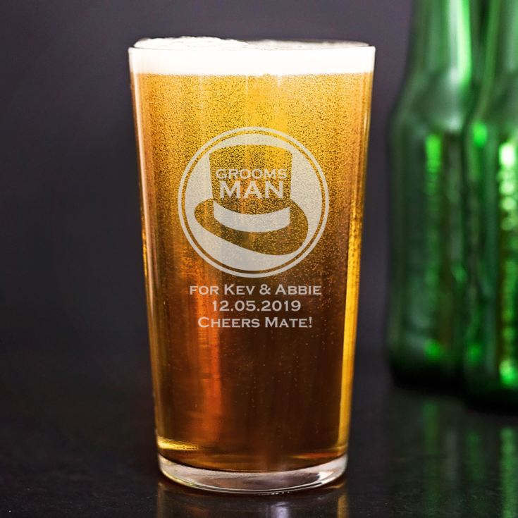 Personalised Groomsman Straight Sided Pint Glass product image