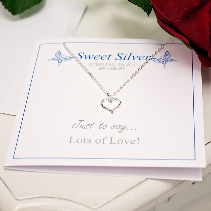 Sterling Silver Open Heart Charm Braclet Presented On Gift Card product image