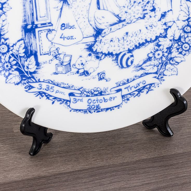 Personalised Heron China Staffordshire Blue Birth Plate product image