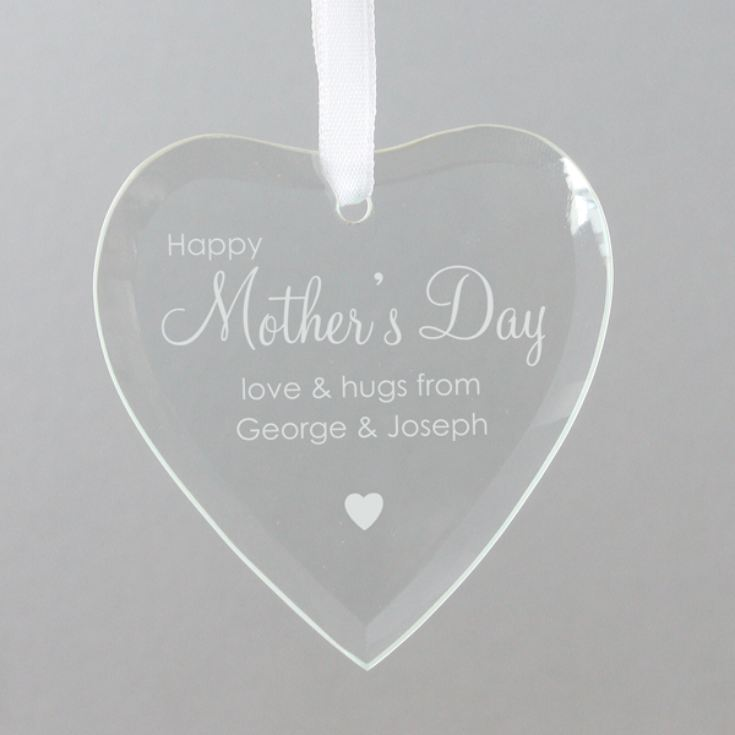 Mother's Day Personalised Glass Heart product image