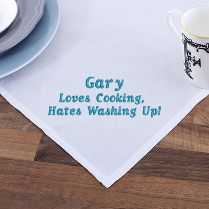Embroidered Loves Cooking, Hates Washing Up Tea Towel product image