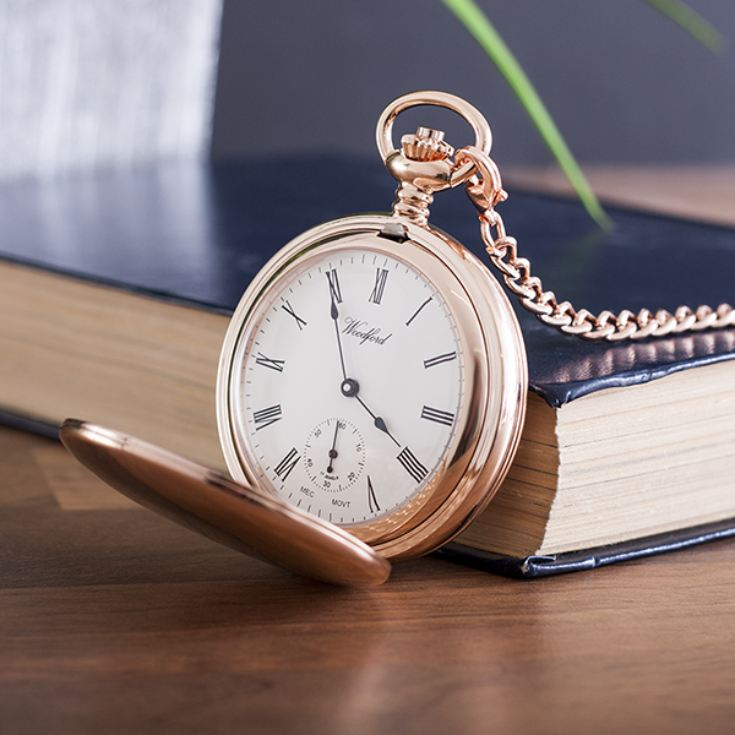 Personalised Woodford Rose Gold Twin Lidded Hunter Pocket Watch product image