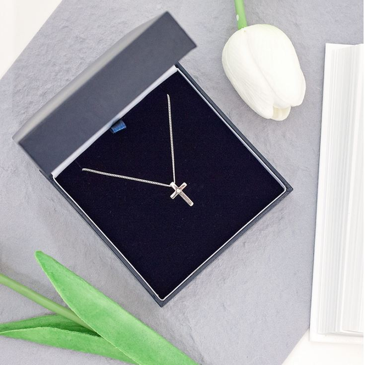 Diamond Cross Pendant in Personalised Gift Box product image