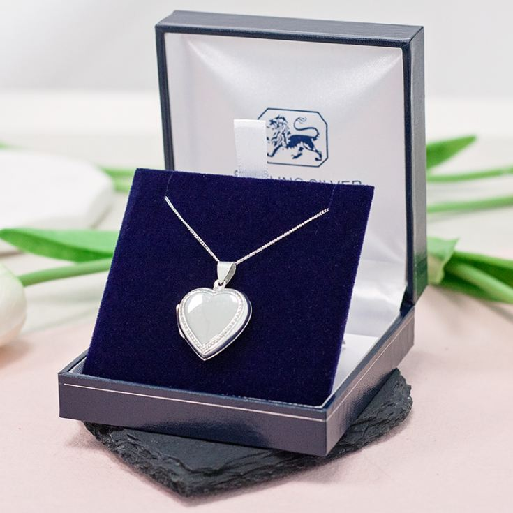 Solid Silver Heart Locket With Personalised Gift Box product image