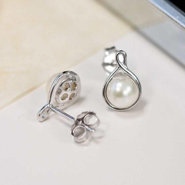 Pearl Earrings in Engraved Gift Box product image