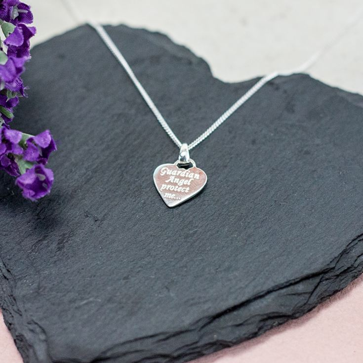 Heart Shaped Guardian Angel Pendant in Personalised Box product image