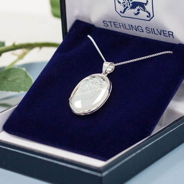Sterling Silver Oval Double Photo Locket with Personalised Gift Box product image
