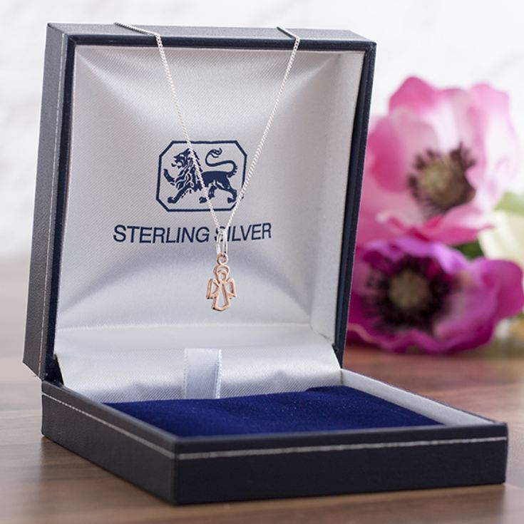 Rose Gold Guardian Angel Pendant In Personalised Gift Box product image