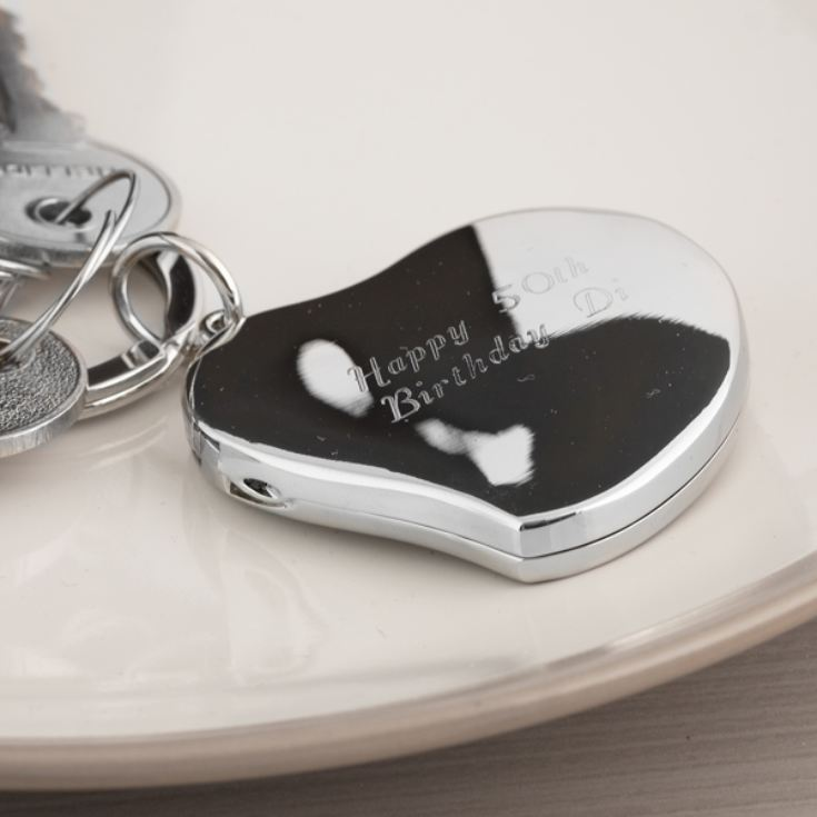 Engraved Heart Locket Keyring product image