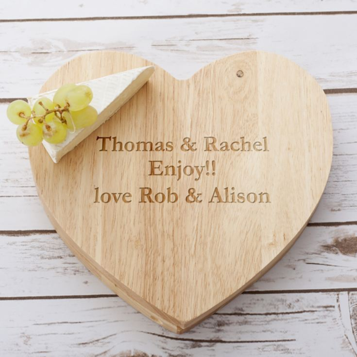Personalised Wooden Heart Swivel Cheeseboard & Knife Set product image