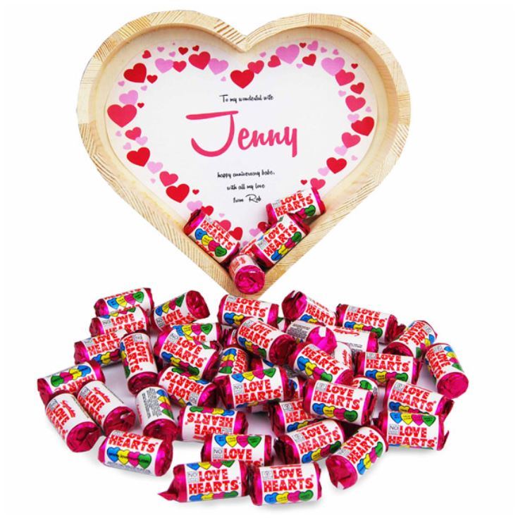 Personalised Heart Shaped Tray of Love Hearts product image