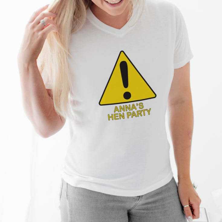 Warning Hen Party V-Neck T-Shirt product image