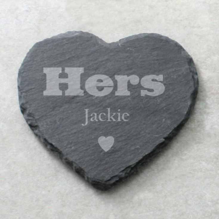 Pair of His and Hers Personalised Slate Coasters product image
