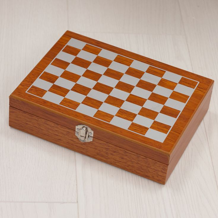 Personalised 6oz Flask In Wooden Chess Set Box With 4 Cups & Funnel product image
